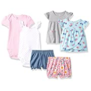 Carter's Baby Girls' 6-Piece Bodysuit Tee and Short Set, Mint Butterfly/Grey Floral, 12 Months