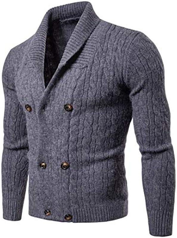 wkd-thvb Męskie Wolle Cardigan Frühling Herbst Warm Dick Geräumige Taschenfarbe Pullover Gestrickte Baumwolle Casual Cardigan: Odzież