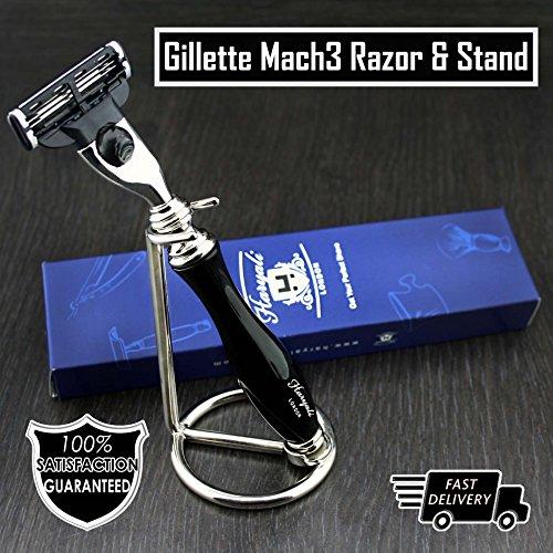 Gillette Mach3 Razor in Black & Stainless Steel Stand | Men