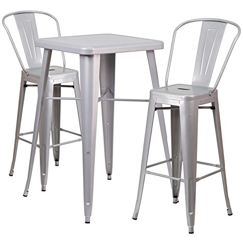 Flash Furniture 23.75'' Square Silver Metal Indoor-Outdoor Bar Table Set with 2 Stools with Backs -