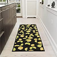 Ottomanson Lemon Collection Contemporary Black Lemons Design Runner Rug with (Non-Slip) Kitchen and Bathroom rugs, Black, 20 X 59