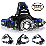 Zoomable Rechargeable Headlamp - LED Headlight Flashlight with Batteries - Head Flashlight - Best Tactical Headlamp - 2000 Lumen Hard Hat Light - Brightest Waterproof Led Head Lamp (Black)