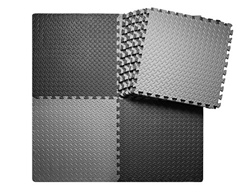 innhom 12 Tiles, 46 SQ. FT Gym Mat Puzzle Exercise Mats Gym Flooring Mat Interlocking Foam Mats with EVA Foam Floor Tiles for Gym Equipment Workouts, Black and Gray (Best Flooring For Basement Workout Room)