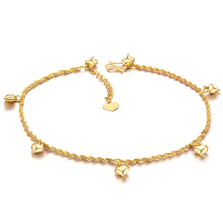 ONEWORLD Women 18K Gold Plated Anklet Bells Anti-Allergy Anti-Color Fading ViR0gQh
