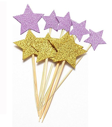 48pcs Twinkle Twinkle Little Star Cupcake Toppers Glitter Gold And Magenta Party Cake Decorations ()