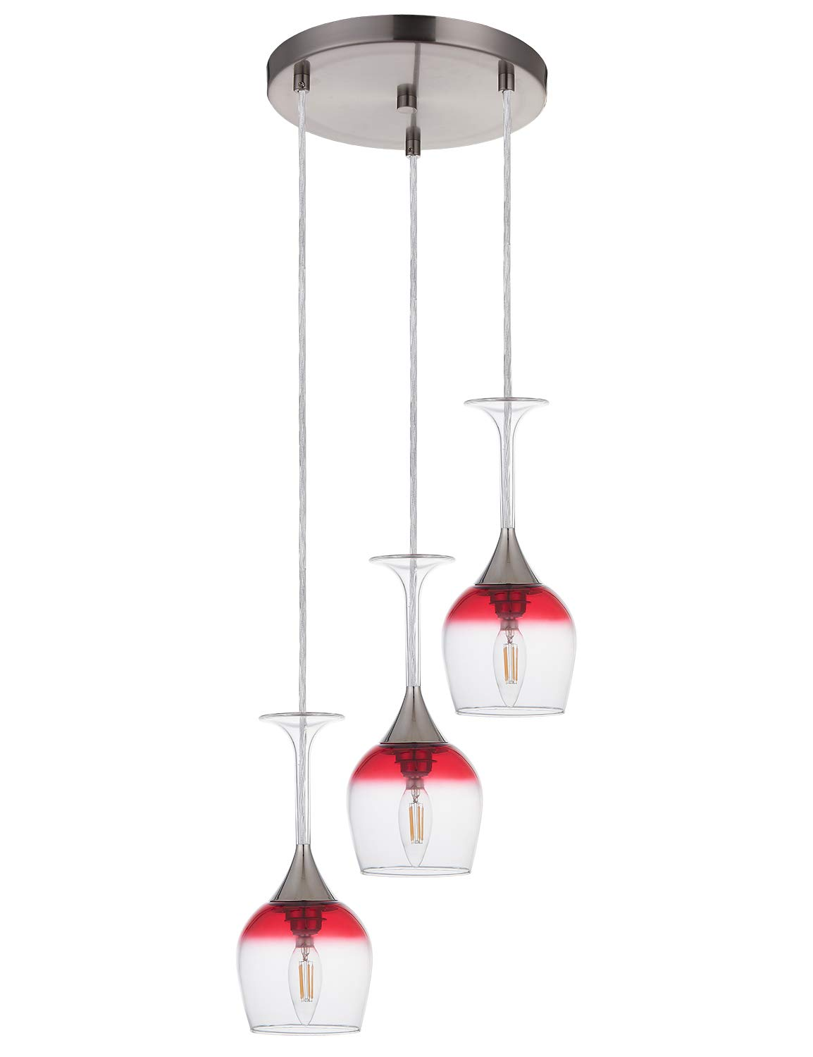 Doraimi 3 Light Wine Glass Chandelier with Brushed Nickel Finish, Modern Pendant Ceiling Lighting Fixture Patented Product for Dining Room Bar Cafe Kitchen Island Living Room, LED Bulb not Include