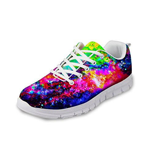 FOR U DESIGNS Cool Galaxy Print Women's Breathable Comfortable Casual Mesh Trail Running Shoes Sneaker US 8