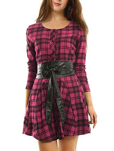 Allegra K Women's Plaids Long Sleeves Belted Mini A Line Shirt Dress Pink S (US 6) -