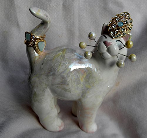 "Opulent ""Opal"" WhimsiClay cat sporting 3 rings with faux moonstones"