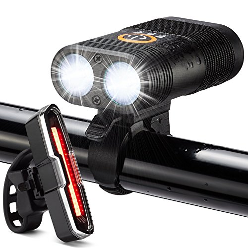 DiKoMo BIKE LIGHT FRONT AND BACK Super Bright LED Bicycle Lights Front and Rear Set 6 Modes Tail Light Rechargeable Mountain Bike Light Road Bike For Night Riding (Black + Blue/Red Taillight)