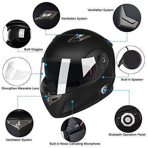 Motorcycle Bluetooth Helmets,FreedConn Flip up Dual Visors Full Face Helmet,Built-in Integrated Intercom Communication System(Range 500M,2-3Riders Pairing,FM radio,Waterproof,L,Red) by FreedConn (Image #5)