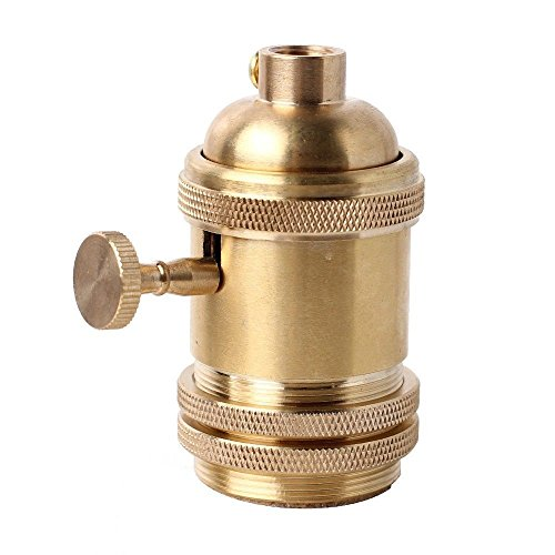 [Frideko Retro Copper Knob Switch Edison E26 Bulb Socket with Lampshade Holder for Pendant Light / Wall Light] (Brass 3 Light Wall Bracket)