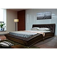 Greatime  Modem Platform Bed, Queen Size, Dark Brown