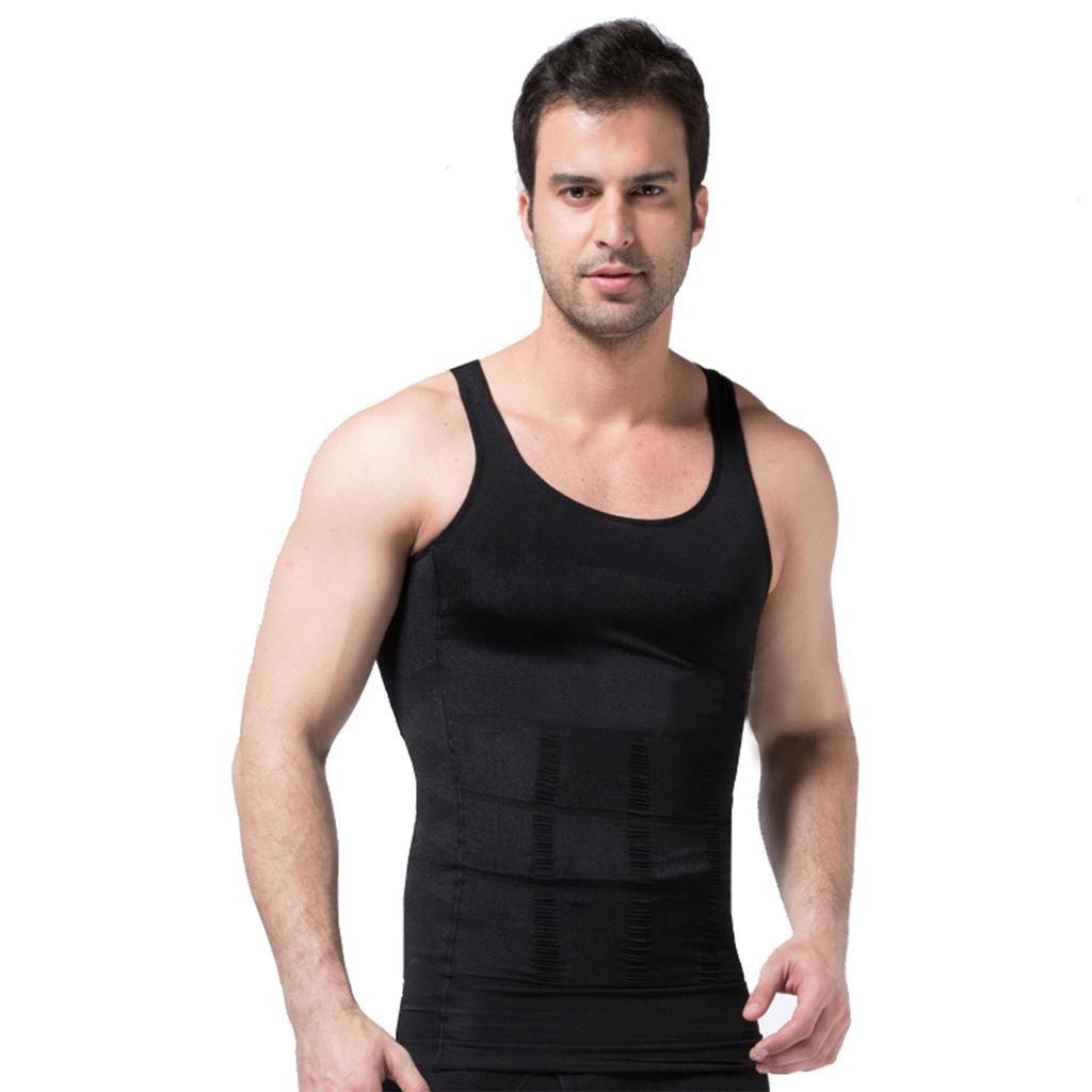 ZEROBODYS Faja reductora hombres camisa de elástica de adelgazamiento de la forma chaleco escultural negro Ssy-1 (XXL) SS-M01