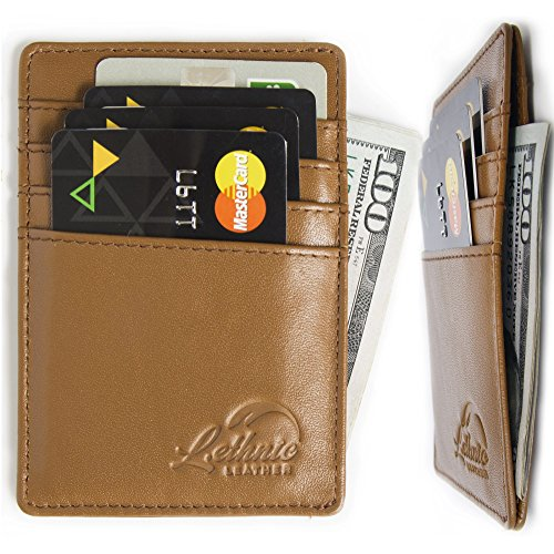 Lethnic Men's Minimalist RFID Front Pocket Slim Wallet - Business Card Holder Wallet - Safe Wallet For Travel - Best gift for Men - Genuine Leather (Dark Brown)