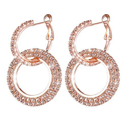 Kanyankeji Fashion Ear-Rings Minimalist Big Circle Round Earrings For Women Elegant Color Geometric Diamond Earrings (Rose Gold)