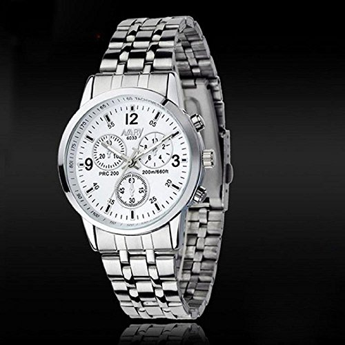 IEason,Luxury Waterproof Stainless Steel Quartz Women Wrist Watch Jewelry (White)