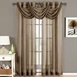 Abri Mocha Grommet Crushed Sheer Curtain Panel, 50x96 inches, by Royal Hotel