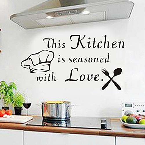 Kitchen Wall Decal Kitchen Wall Sticker Quotes This Kitchen Is Seasoned With Love Cutlery and Chef Hat Wall Sticker Kitchen Removable Home Decor Wall Vinyl Decals for Kitchen, kitchen decals(16