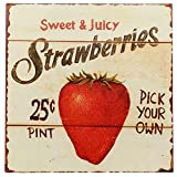 Cheap Barnyard Designs Strawberries Pick Your Own Retro Vintage Tin Bar Sign Country Home Decor 11″ x 11″
