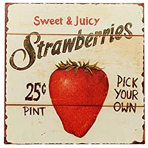"Barnyard Designs Strawberries Pick Your Own Retro Vintage Tin Bar Sign Country Home Decor 11"" x 11"" 77"
