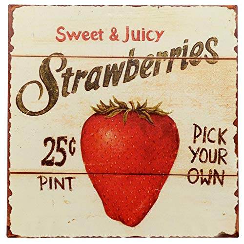 """Barnyard Designs Strawberries Pick Your Own Retro Vintage Tin Bar Sign Country Home Decor 11"""" x 11"""""""