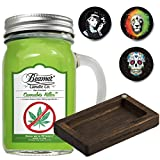 2 Items - 12 oz Candle + Beamer Pocket Bamboo Rolling Tray + 3 Collectable Stickers