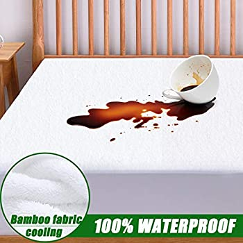 Qutool Full Size Cooling Mattress Protector 100% Waterproof Hypoallergenic Mattress Pad Cover - Bamboo Fabric Terry Top - Fitted 8
