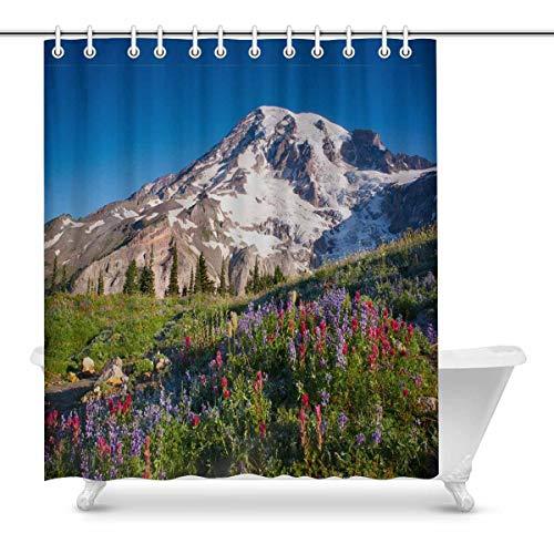 InterestPrint Mt Rainier National Park Wildflowers Summer Time Cascade Mountain Wilderness Decor Waterproof Polyester Bathroom Shower Curtain Bath Decorations with Hooks, 72 x 84 Inches