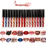 Beayonyua Lipstick Set 16 Pcs Matte and Metallic Liquid Lip Gloss Waterproof Long Lasting, Not Afraid of Kissing, Drinking, Swimming (16 PCS)