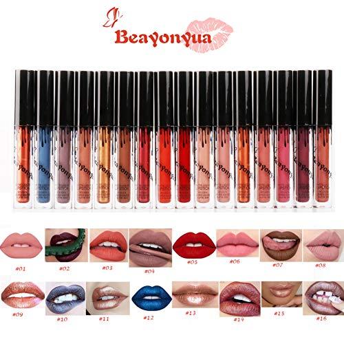 Beayonyua Lipstick Set 16 Pcs Matte and Metallic Liquid Lip Gloss Waterproof Long Lasting, Not Afraid of Kissing, Drinking, Swimming (16 PCS) ()