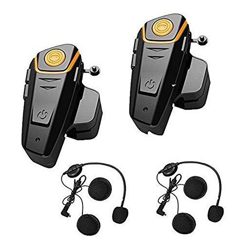 Motorcycle Bluetooth Intercom Headset, CEStore 1000m Bike-to-bike Interphone Headphone w/ Handsfree Call, Answer, Music Listen & Control, Last Call Redial, FM Radio, DSP Noise Cancellation -2Packs