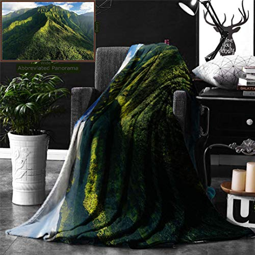 Ralahome Unique Custom Double Sides Print Flannel Blankets Apartment Decor Aerial View Jungle Forest On The Mountains Tropical Exotic Hawaii N Super Soft Blanketry Bed Couch, Twin Size 80 x 60 Inches by Ralahome