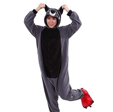 Gray Raccoon Kigurumi Pajamas Onesies Clothing Romper Nightwear S