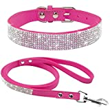 LOVELY Puppy Dog Collar Leash Set Soft Rhinestone Small Medium Dogs Cats Collars Rose XS