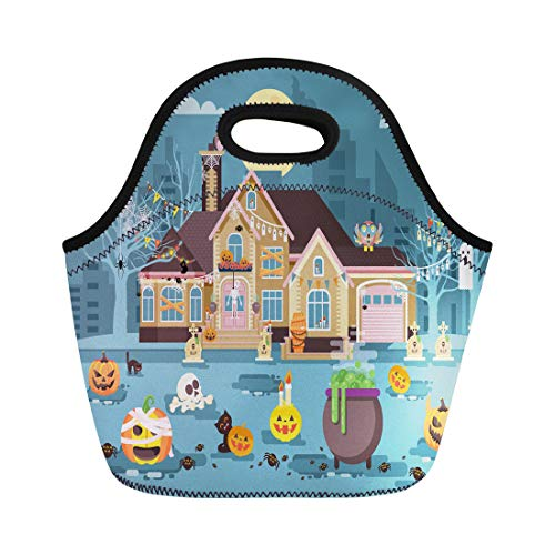 Semtomn Lunch Tote Bag Stock Cartoon House Courtyard Decorated Pumpkins Skeletons Cauldron Celebrate Reusable Neoprene Insulated Thermal Outdoor Picnic Lunchbox for Men Women ()