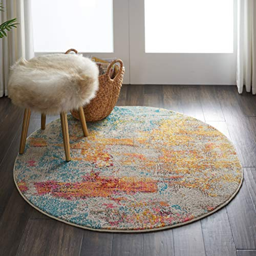 Nourison Celestial Area Rug, 4' x ROUND, Sealife (Round Rugs For Living Room)