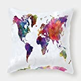 Microfiber Throw Pillow Cushion Cover,Watercolor,Multicolored Hand Drawn World Map Asia Europe Africa America Geography Print Decorative,Multicolor,Decorative Square Accent Pillow Case