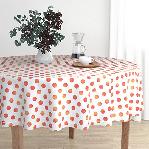 Round Tablecloth - Polka Dot Orange Pink Raspberry Tangerine Watercolor by Willowlanetextiles - Cotton Sateen Tablecloth -