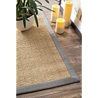 Natural Fiber Cotton Border Sisal Herringbone Light Grey Area Rugs, 6 Feet by 9 Feet (6 x 9)