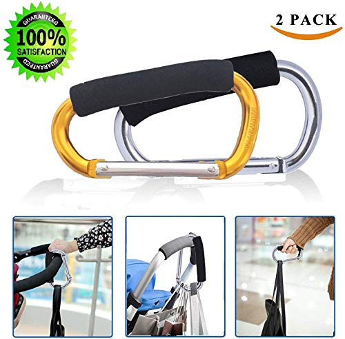 Large Stroller Hooks for Mommy, 2 pcs Carabiner Stroller Hook Organizer for Hanging Purses, Diaper Bag, Shopping Bags. Clip Fits Single/Twin Travel Systems, Car Seats and Jo (Silver+Golden Yellow)