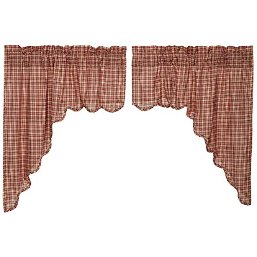 VHC Brands Independence Scalloped 24993 Swag Set (Set Swag Check)