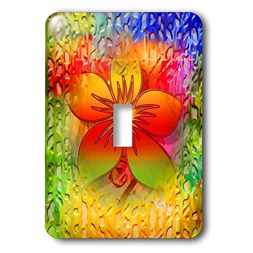 3dRose Spiritual Awakenings-Flowers - Fractal flower with abstract layered textured look colorful back - Light Switch Covers - single toggle switch ()