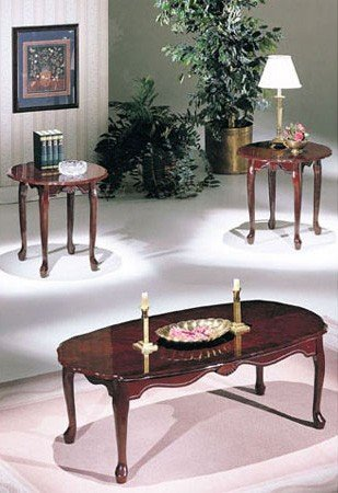 ACME 02402 Essex Coffee/End Table Set, 3-Piece, Cherry (Essex Coffee Table)