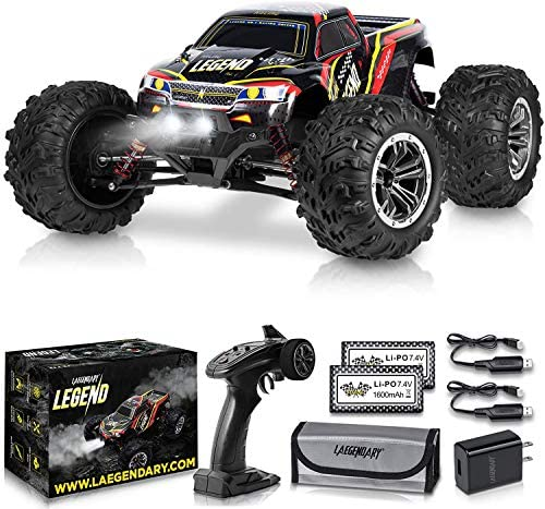 1:10 Scale Large RC Cars 48+ kmh Speed – Boys Remote Control Car 4×4 Off Road Monster Truck Electric – All Terrain Waterproof Toys Trucks for Kids and Adults – 2 Batteries + Connector for 40+ Min Play
