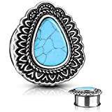 MoBody One Pair Surgical Steel Turquoise Centered Antique Tear Drop Double Flared Ear Gauge Plugs 2G-12mm (2G (6mm))