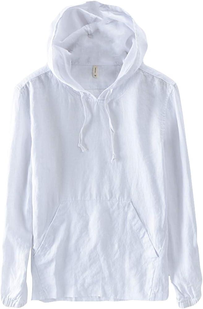 Icegrey Hombre Camisa de Lino con Bolsillo Camisa Casual con Capucha Blanco 44: Amazon.es: Ropa y accesorios