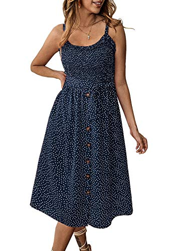 PRETTYGARDEN Women's Summer Sunflower Boho Spaghetti Strap Semi-Backless Button Down Swing A-Line Midi Dress with Belt and Pockets (014-Navy, X-Large)