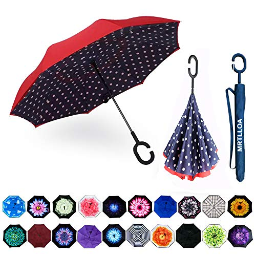 MRTLLOA Double Layer Inverted Umbrella with C-Shaped Handle, Anti-UV Waterproof Windproof Straight Umbrella for Car Rain Outdoor Use (N-Red Dot)