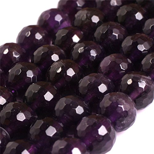 8mm AAA Grade Natural Semi Precious Round Faceted Genuine Purple Amethyst Precious Gemstone Beads for Jewelry Making Strand (8 Genuine Amethyst Stones)